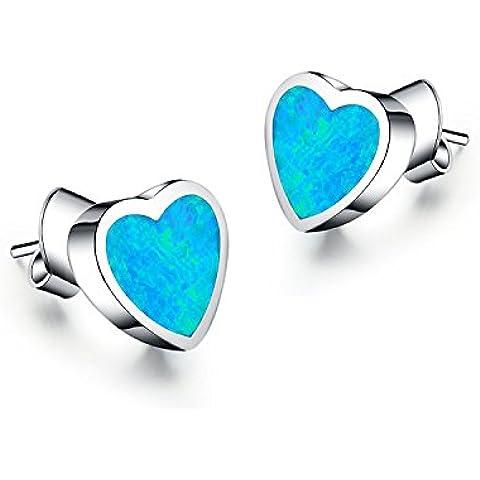 lanmpu joyas plata de ley 925Ópalo azul sintético corazón Stud Earrings925Plata esterlina sintético azul Ópalo Pendientes con forma de corazón