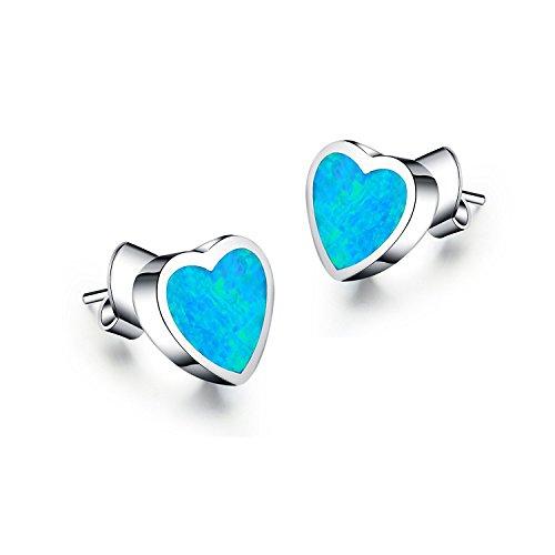 lanmpu-Argento Sterling 925Blu Opale sintetico Intarsio a forma di cuore argento Sterling Earrings925Blu Sintetico Opale Orecchini A Perno a forma di cuore