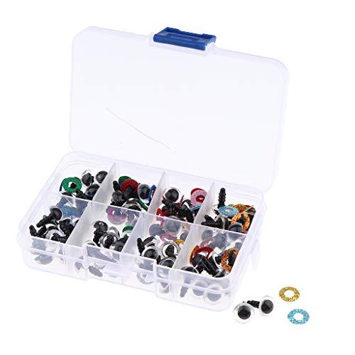 CUTICATE 80 Stück 10mm Kunststoffsaugen Sicherheitsaugen + Glitter Vliesstoffe + Unterlegscheiben + Box für Puppen DIY Herstellung