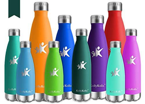 KollyKolla Vakuum Isolierte Edelstahl Trinkflasche, 500ml BPA Frei Wasserflasche Auslaufsicher, Thermosflasche für Sport, Outdoor, Fitness, Kinder, Schule, Kleinkinder, Kindergarten (Dunkelgrün)