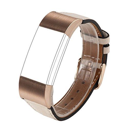 Für Charge 2 Zubehör Band, Wearlizer Lux Echtes Leder Ersatzbänder für Fitbit...