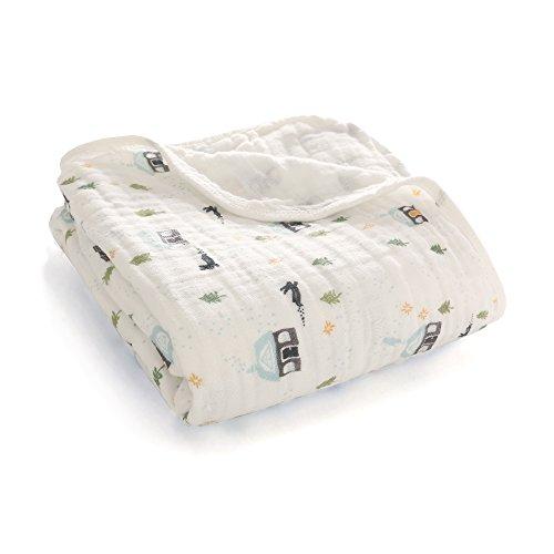 Miracle Baby Couverture Emmaillotage de Mousseline En Coton Deux Couches 100 x 150cm, Poussette de Bébé Pour Nouveau-Né Douce Ultra (Deux Couches, Neige Maison)