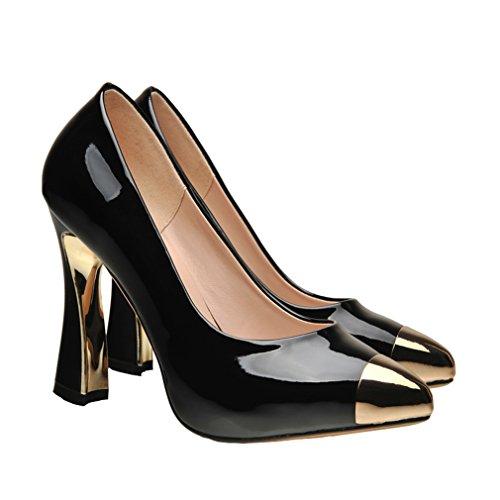 ENMAYER Chaussures D'automne de Printemps Pour Femmes Chaussures Chaussures en Talon à Talon Pointu Noir