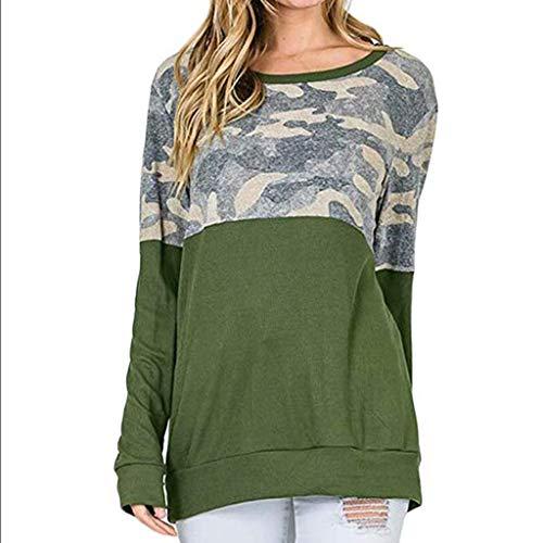 Eucoo camicia donna casual felpa a maniche lunghe color camo(verde,medium)