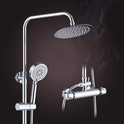 WMBATH Thermostat Duschsystem Regendusche Runde Duschpaneel Duscharmatur Duschset Enthält Überkopfbrause Handbrause Regenbrause