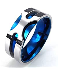 Bishilin 1PCS Anillo de Hombre Acero Inoxidable Banda Venda El Tono de Plata Azul Alianzas Boda Plata Azul