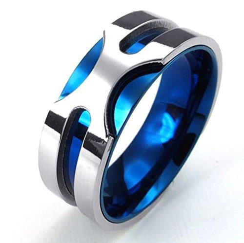 Bishilin 8MM Edelstahl Herren Ring Blau Silber Trauringe Eheringe Verlobungsringe Klassiker Bandring Größe 54 (17.2) (Für Männer Keramik-ring)