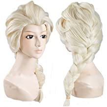 EBASE Elsa Cosplay Wig, Spiral Curly Cosplay Wig, Anna Wig, Brown Long and Curly Hair Wig (Elsa Wig White) by EBASE
