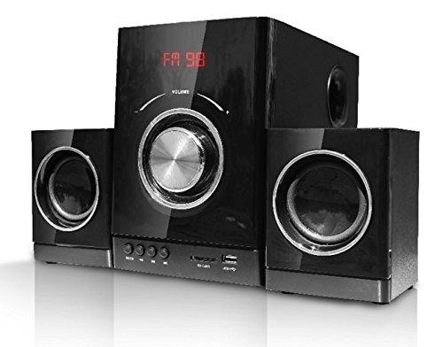 Unbekannt - Equipo de sonido (diseño compacto, equipo estéreo, sistema de sonido 2.1, alta fidelidad, radio, conexión usb, tarjeta sd)