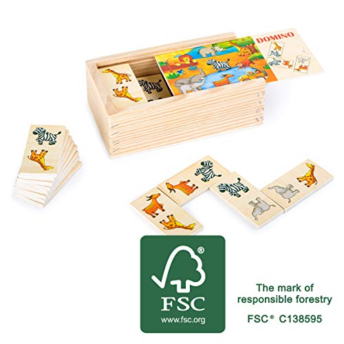 small foot company- Domino Safari de Madera FSC 100% certificada, Divertido Juego...