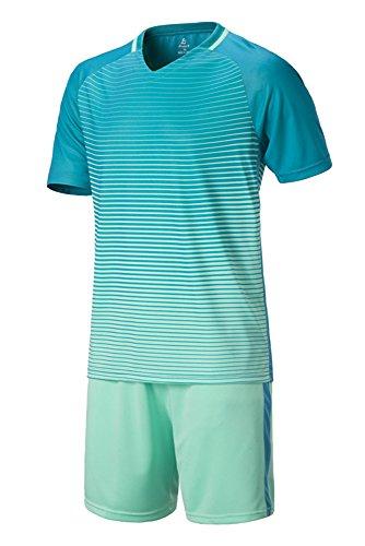 KINDOYO Jungen Herren Sportbekleidung Fußball Kit Kleidung Hemd & Shorts Set Trainingsanzug Wettbewerb Teamtrikots, Grün, EU 23=Tag 24, Höhe:130cm