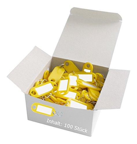 Preisvergleich Produktbild Wedo 262803405 Schlüsselanhänger Kunststoff (mit S-Haken, auswechselbare Etiketten) 100 Stück, gelb
