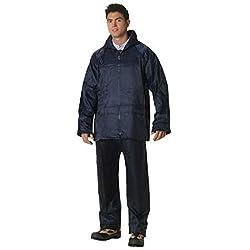 Traje impermeable azul de nylon Ligero y flexible con capucha