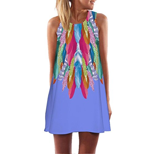 Binggong Kleid Kleid Damen,Binggong Frauen Lose Bequem Sommer Vintage Ärmelloses 3D Blumendruck Bohe Tank Short Mini Dress Hochwertiges Populäre Partykleid (2XL, Lila) (Lila Flapper Kleid Kostüm)