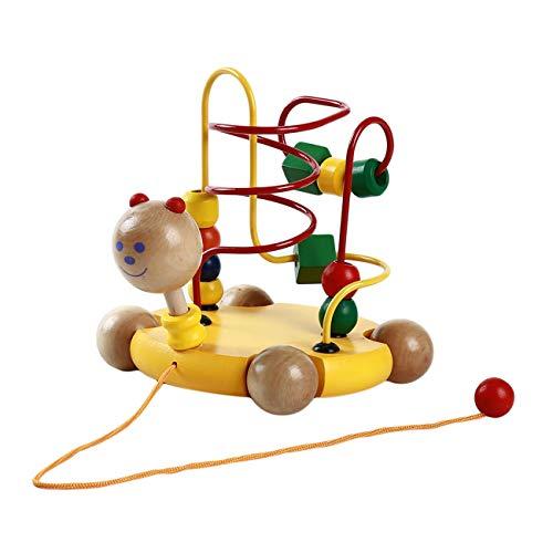 Bigsweety Schildkröte Spielzeug für Baby Kleinkind, Holz Drag Schildkröte Runde Perlen Auto Spielzeug für Jungen Mädchen