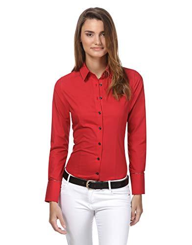 Vincenzo boretti camicia-blusa donna elegante, taglio abbastanza aderente, manica-lunga, in tinta unita, facile da stirare, collo classico rosso 46