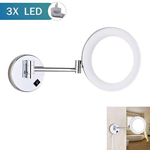 Mirrorks Bad Rasierspiegel Wand-Kosmetikspiegel LED beleuchtet mit Einstellbarer ausziehbarer 3-facher Vergrößerung Oberfläche Chrom-Finish UK-Stecker - Dunkle Messing-stecker