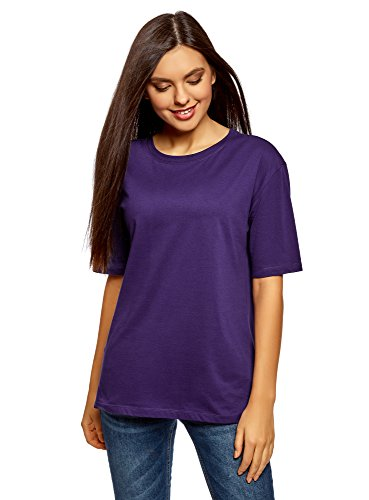 oodji Ultra Women's Relaxed-Fit Crew Neck Tagless T-Shirt