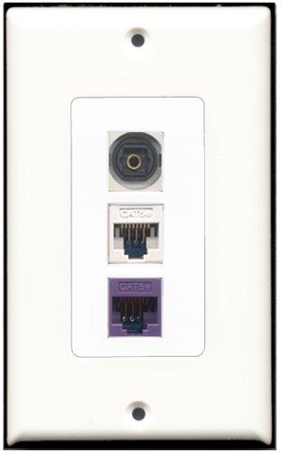 RiteAV Wandplatte Decora, 1 Toslink-Anschluss, 1 Cat5e-Ethernet-Anschluss weiß, 1 Cat5e-Ethernet-Anschluss lila Decora Jack