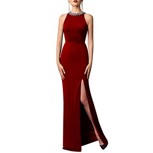 Aiyana Elegantes Dame Aermellos Abiballkleider Ballkleider Langes O-Ausschnitt Gerade Bodycon Abendkleid mit Schlitz Burgund,38 Blau