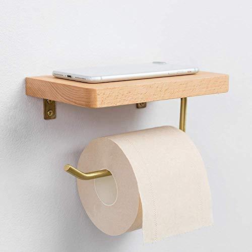 Montaggio a parete igienica carta velina, bagno portarotolo con cellulari con mensola in legno massello di rovere contiene e distribuisce one roll, montaggio inclusi-forte e durevole metallo in raso