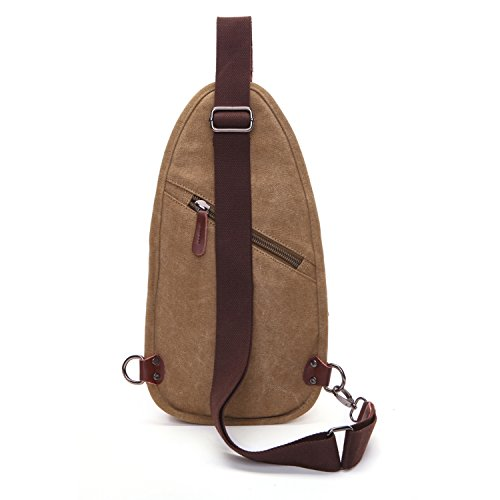 Outreo Tracolla Uomo Borsa a Spalla Chest Bag Sport Piccolo Petto Borse Vintage Tasca di Tela Trekking Outdoor Borsello per Militare Tasche Marsupio Viaggio Beige