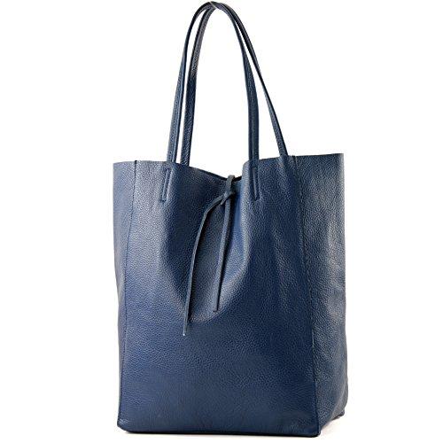modamoda de - T163 - Ital. Shopper Schultertasche aus Leder, Farbe:Saphirblau -