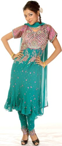Exotic India Turquoise Anarkali Suit with Heavily Beaded on Front