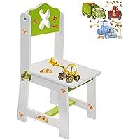 Preisvergleich für alles-meine.de GmbH Stuhl für Kinder - aus Sehr stabilen Holz - Bagger / Traktor & Auto - Weiß /..