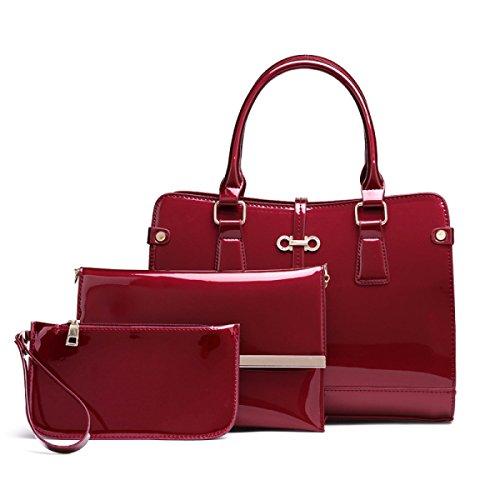 Damen Glänzend Koffer Dreiteilig Handtasche Umhängetasche Diagonalpaket Mode Temperament Hochwertig Red