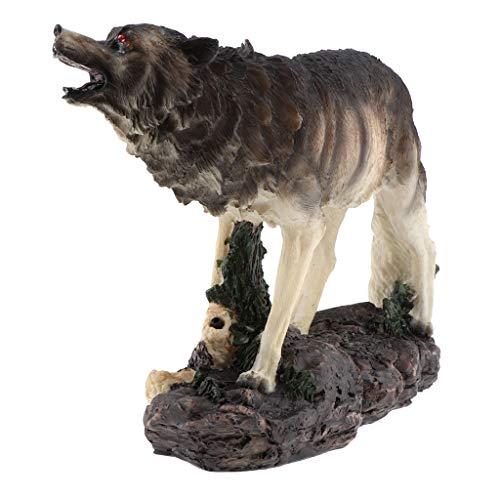 Fenteer Wolf Gartenfigur Skulptur mit Solarlampe, für Innen und Außen Deko, Toller Hingucker im Garten, Mut Bedeutung