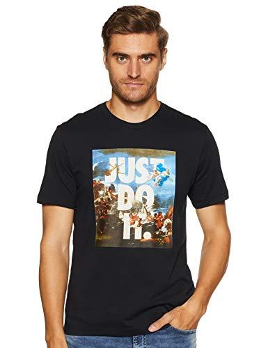 Nike Men's Printed Regular fit T-Shirt (AA6585-010_Black_Large)
