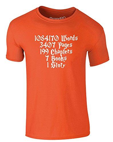 Brand88 - One Story, Erwachsene Gedrucktes T-Shirt Orange/Weiß
