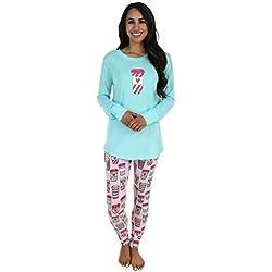 Sleepyheads Ropa de Dormir para Mujer Conjunto de Pijama con Parte Superior y Mallas, Café (SH1140-4096-EU-XL)