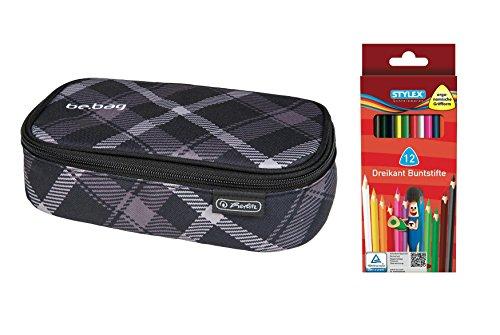 Faulenzer-Box XXL / Federmappe / Größe: ca. 23 x 12,5 x 6,5cm + 12 Buntstifte