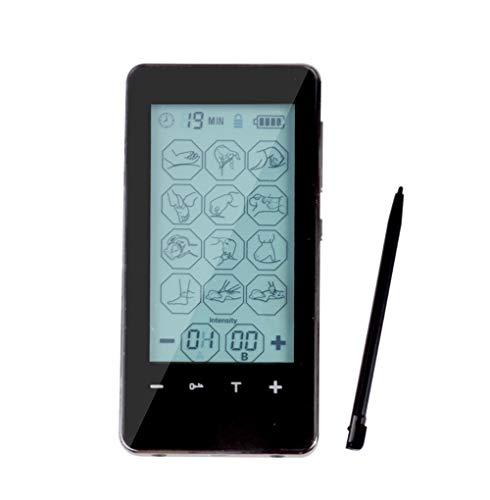 TENS Massagegerät, Doppelkanal Zehner Maschine,Wiederaufladbar Berührungsempfindlicher Bildschirm Muskel Stimulatoren Akupunktur Massagegerät, 12 Modi für Ischiasschmerzen und Muskelrelief,black