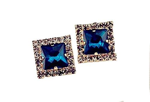 Moda Elegante Lega Blu Ciondolo Strass Forma Quadrata Orecchini Donne Regalo Ragazze