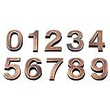 Vosarea 3D Numero civico 0 - 9 Adesivo Numero Porta Numero Camera per casa Hotel Porta indirizzo 5 cm 10 Pezzi (Bronzo)