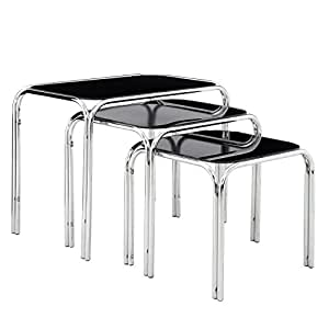 Premier Housewares Nest of Tables with Black Glass Top and Chrome Legs - Set of 3 - 45.5x29.5x38 cm