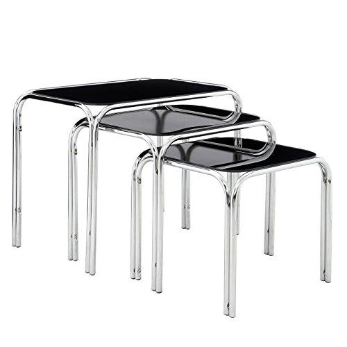 Premier Housewares Tische, verschachtelbar, mit schwarzer Tischplatte und Chrombeinen, 39 x 46 x 30 cm, 3-teiliges Set -