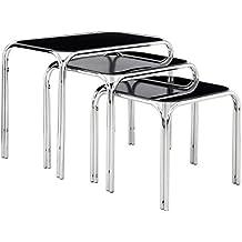 Premier Housewares - Juego de 3 mesas nido (39 x 46 x 30 cm, tablero de cristal y patas de cromo)