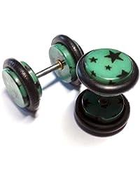 Cameleon-Shop-Pendientes de falsos Plug-Dilatador acero inoxidable-estrellas negras fondo