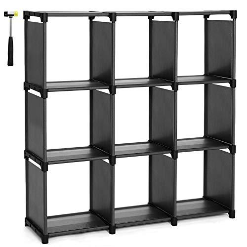 SONGMICS DIY-Aufbewahrungsregal mit 9 Fächern offenes Bücherregal für Arbeitszimmer zu Hause Organizer für Wohnzimmer Schwarz LSN45BK