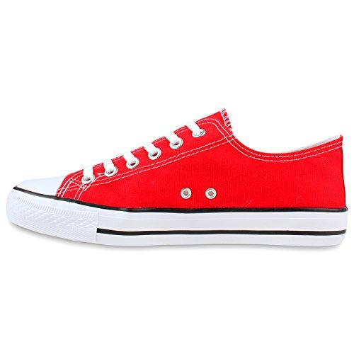Freizeit Herren Sneakers Low Canvas Schuh Rot