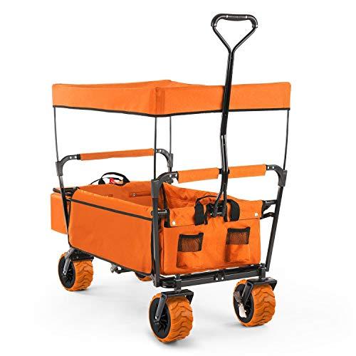 Waldbeck The Orange Supreme • Bollerwagen • Handwagen • kippsicher • witterungsbeständig • Falttechnik • 68 kg Belastbarkeit • PU-Kunststoffräder • pulverbeschichtete Metallteile • orange