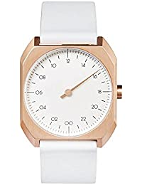 slow Mo 15 - White Leather, Rose Gold Case, White Dial