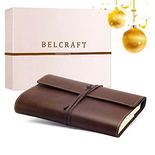 Vietri Classico A5 mittelgroßes Notizbuch aus recyceltem Leder, Eleganter Weihnachtsgedanke mit Geschenkbox, Handgearbeitet in klassischem Italienischem Stil, Tagebuch A5 (15x21 cm) Braun
