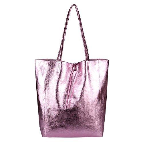 d96c977c025f0 OBC Made in Italy DAMEN LEDER TASACHE DIN-A4 Shopper Schultertasche  Henkeltasche Tote Bag Metallic