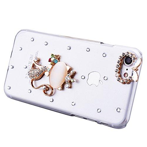 iPhone 7 Case, iPhone 7 4.7 Pouces Cover, GrandEver Coque Hard PC Transparente pour iPhone 7 3D Diamant Rhinestones Bling Back Cover Chat Mignon Motif Etui Brillant Housse Plastique Haute qualité Cas  Chat