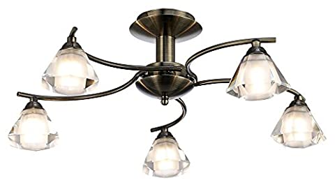 Contemporary 5-Arm Antique Brass Ceiling Light with Cut Frosted and Clear Glass Shades by Haysom Interiors